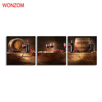 3Pcs Grapes Wine Canvas Art Painting HD Wall Home Decor For Living Room Framed Modular Barrel