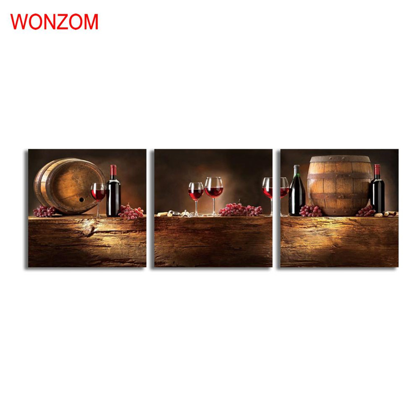 3pcs grapes wine canvas art painting hd wall home decor for Home interiors and gifts framed art