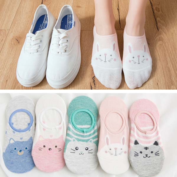 HTB1MDj0bRGw3KVjSZFDq6xWEpXaF - 5Pairs/Lot Summer Cartoon Cat Fox rabbit Socks Cute Animal Women Socks Funny Ankle Socks Ladies Cotton invisible socks