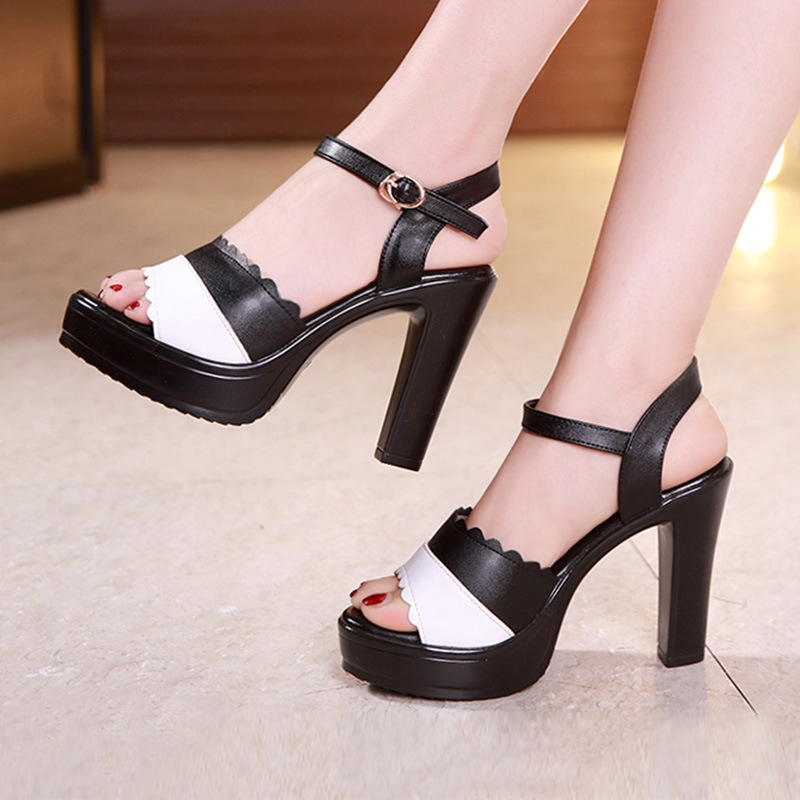2019 new summer one word buckle breathable sandals women Round head Crude high women sandals mixed colors 34 43 size in High Heels from Shoes
