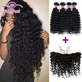 Peruvian Deep Wave With Closure 3/4 Bundles Ear To Ear Lace Frontal With Baby Hair Human Hair Lace Frontal With Bundle Full Lace