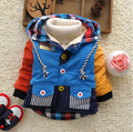 2015 New winter children outerwear baby boys thick warm fleece lining hooded coat with five-star buttons kids outfits