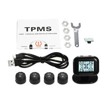 External Solar Wireless TPMS Car Tire Pressure Alarm Monitor System Display Temperature Warning Fuel Save with 4 Sensors(China)