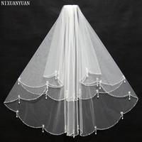 2019 Hot Sale White Bridal Wedding Veil with Comb 2T Beaded Wedding veils Wedding Accessories velos de novia In Stock