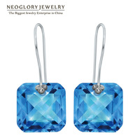 Neoglory Silver Platinum Plated Square Dangle Drop Earrings For Women Fashion Jewelry Birthday Christmas Gifts 2015