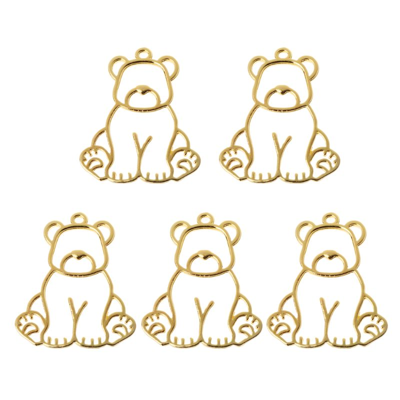 5Pcs Toy Bear Hollow Metal Frames Pendants Bezels Setting Resin Jewelry Making Drop Ship W2952001