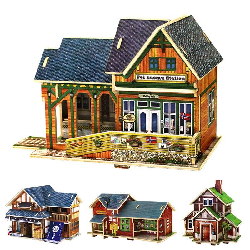 d casa de madera modelos de construccin arte diy nios de construccin diversin juguete caliente