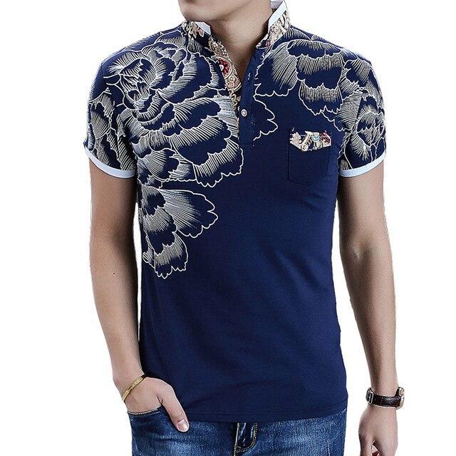 Neue Design 2017 Sommer Mode Lässig Blumen Polo-Shirt Männer Slim Fit  Baumwolle Polo Homme 14c470bc83