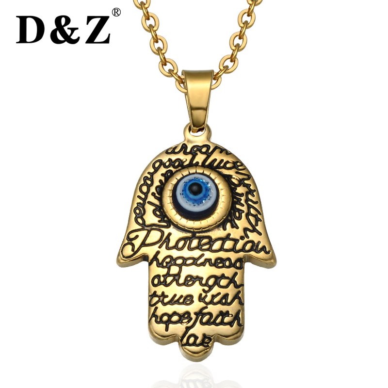 D&Z Religion Gold Hamsa Fatima Hand Pendant Chain Stainless Steel Luck Mano De Fatima Evil Eye Hand Necklaces for Women Jewelry D&Z Religion Gold Hamsa Fatima Hand Pendant Chain Stainless Steel Luck Mano De Fatima Evil Eye Hand Necklaces for Women Jewelry