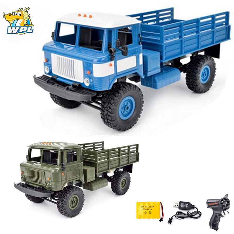 WPL B-24 GAZ-66 1/16 Remote Control Military Truck 4 Wheel Drive Off-Road RC Car Model Remote Control Climbing Car RTR Gift Toy remote control 1 32 detachable rc trailer truck toy with light and sounds car