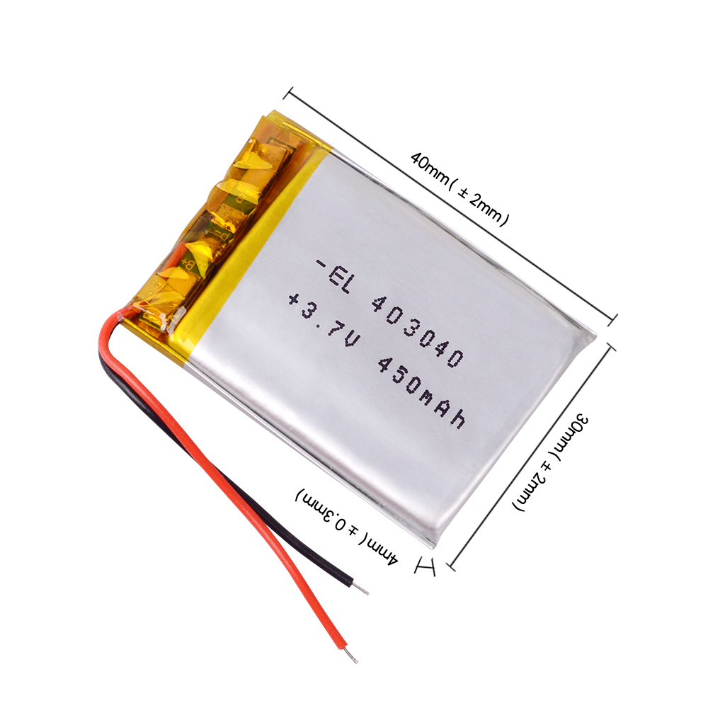 <font><b>403040</b></font> <font><b>3.7V</b></font> 450mAh Polymer Li-ion Battery For bluetooth headset Bracelet pen DVR GPS PSP PDA toys headephone Remote 043040 image