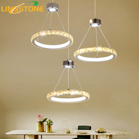 Led Crystal Chandelier Lighting Lustre Modern Hanging Lamp Chrome Ceiling Plate 3PCS Ring Restaurant Dining Room