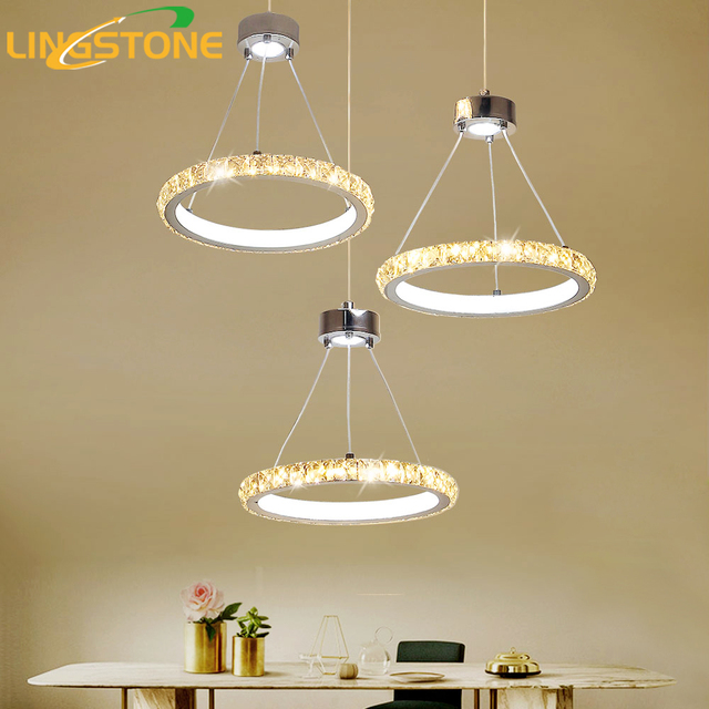 Led Crystal Chandelier Lighting Lustre Modern Hanging Lamp Chrome Ceiling Plate 3PCS Ring Restaurant Dining Room.jpg 640x640 10 Unique Lustre Bar