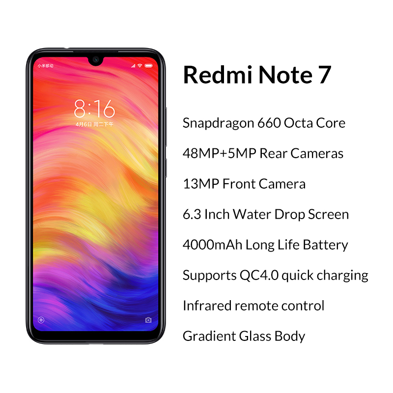 Image 2 - Global Version Xiaomi Redmi Note 7 4GB 128GB Snapdragon 660 48MP+13MP Dual Camera 6.3 Full Screen 4000mAh 4G LTE Smartphone CE-in Cellphones from Cellphones & Telecommunications