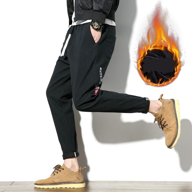 Winter Pants Men Fashion Letter Embroidery Warm Casual Pants Boys Slim Fit Thick Linen Plus Velvet Warm Mens Trousers 5XL Black