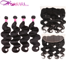 Brazilian Body Wave 3/4 Bundles With Closure Lace Frontal Closure With Bundles Miss Cara 100% Human Hair Remy Hair Weaves
