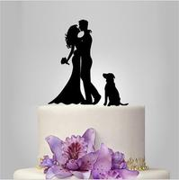 Unique Bride And Groom Silhouette Wedding Cake Toppers With Dog Personalized Wedding Cake Topper Acrylic Decoration