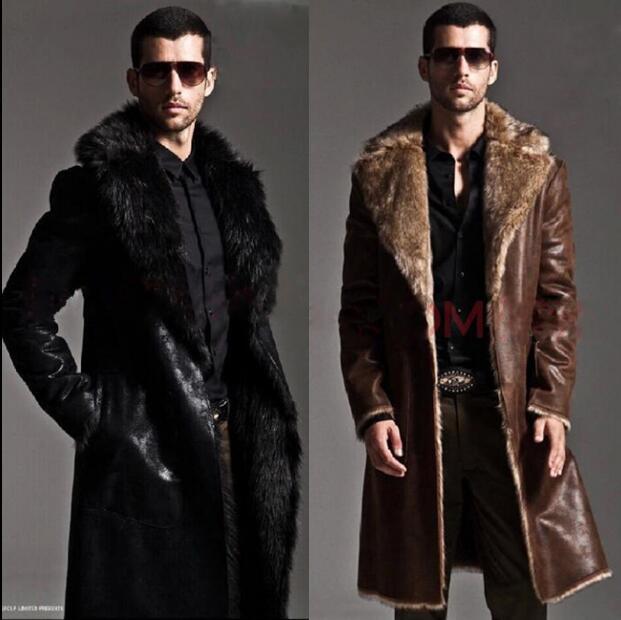 Vêtement homme long fourrure manteaux imitation vison fourrure manteaux manteaux coupe-vent fourrure un homme veste