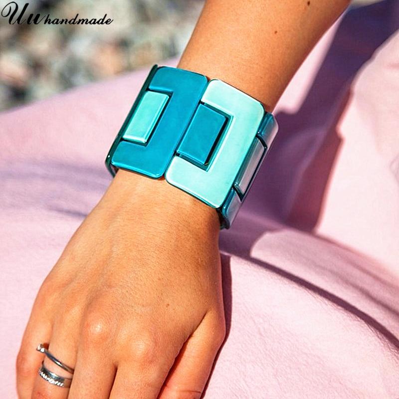 Fashion Acrylic Wide Bangles Cuff Bracelet for Women Retro J