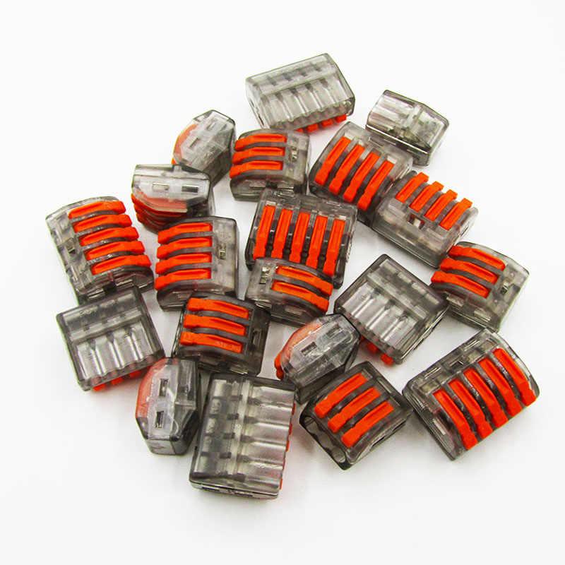 Бесплатная доставка (5 шт./лот) 222 Мини Быстрый провод разъемы, универсальный компактный соединитель проводки, нажимной клеммный блок PTC412-415