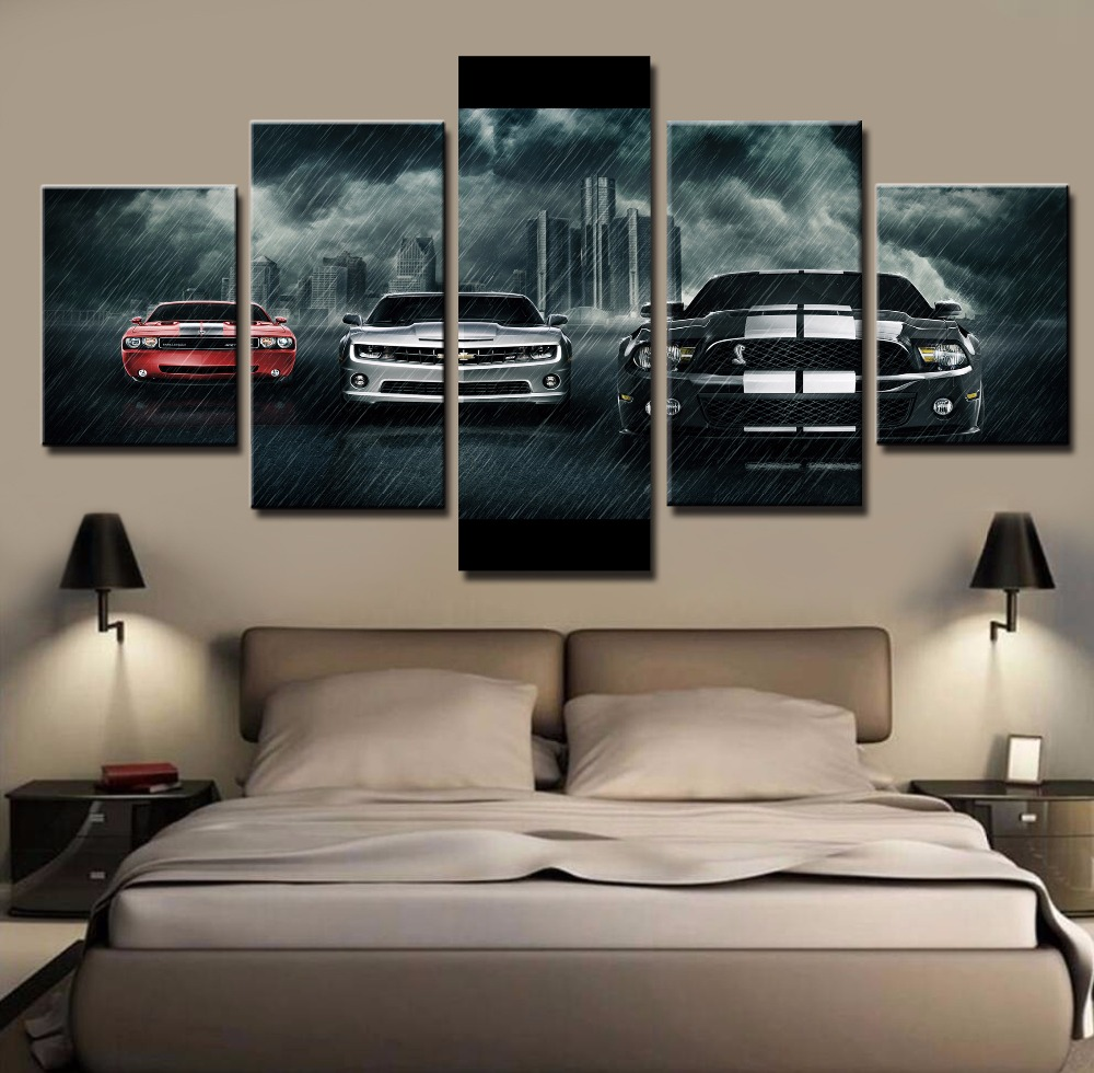 5 Piece Canvas Art Large Ford Mustang Shelby Car Cuadros Decoracion Paintings On Canvas Wall Art