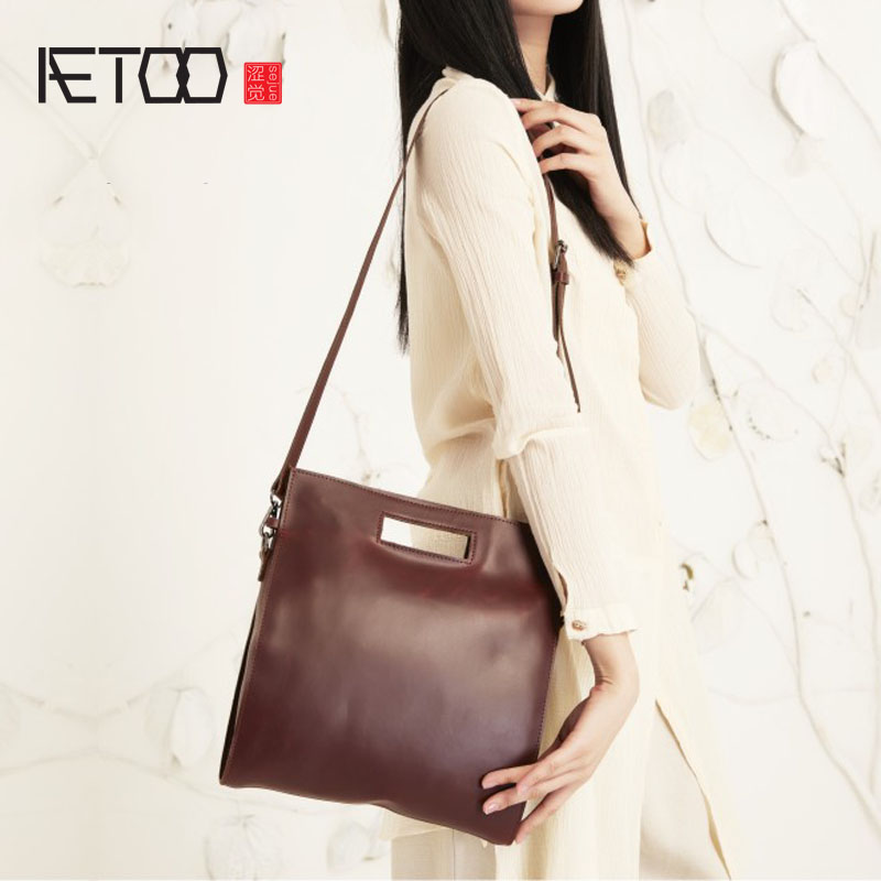 AETOO Handmade original high-grade leather wild square bag shoulder Messenger bag handbag multi-purpose female package