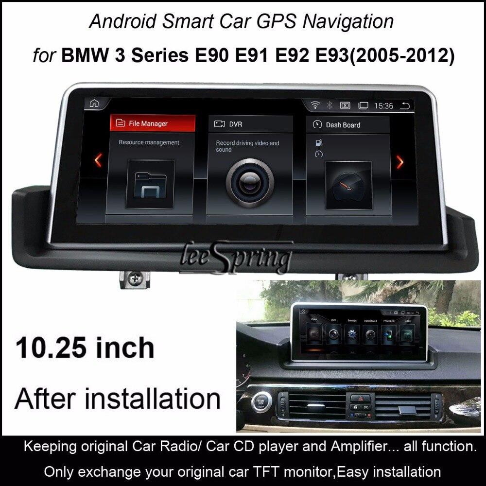 10.25 Tactile Android 4.4 Voiture GPS Navigation pour BMW 3 Série E90 E91 E92 E93 (2005-2012) iDrive Gauche/Main Droite Lecteur En Option