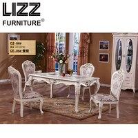 Мрамор обеденный стол Столовая мебель комплект Королевский Мебель под старину Стиль muebels квадратный стол Честерфилд кожаное кресло