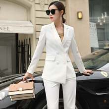 Autumn Womens Suit 2019 New Fashion Two-piece Professional Wear Casual Korean Version of The Jacket Wide-leg Pants