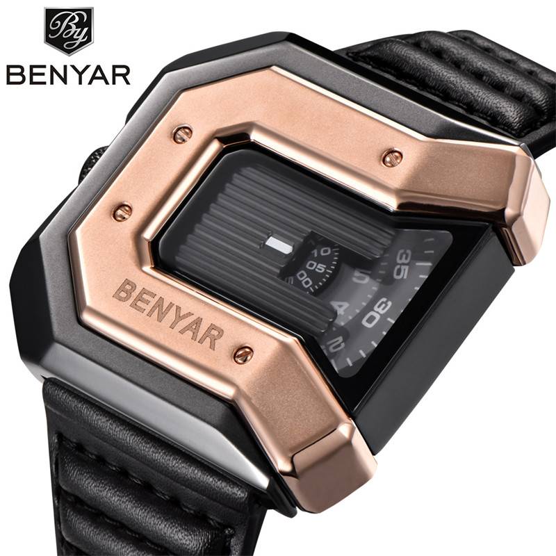 BENYAR New Top Luxury Brand Unique Design Men Gold Watch Leather Strap Waterproof Quartz Watch Clock