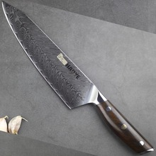 8.5 inch Damascus chefs knife Japanese vg10 steel kitchen knives sharp Cutlery Full Tang ebony rosewood handle 2019 NEW grain