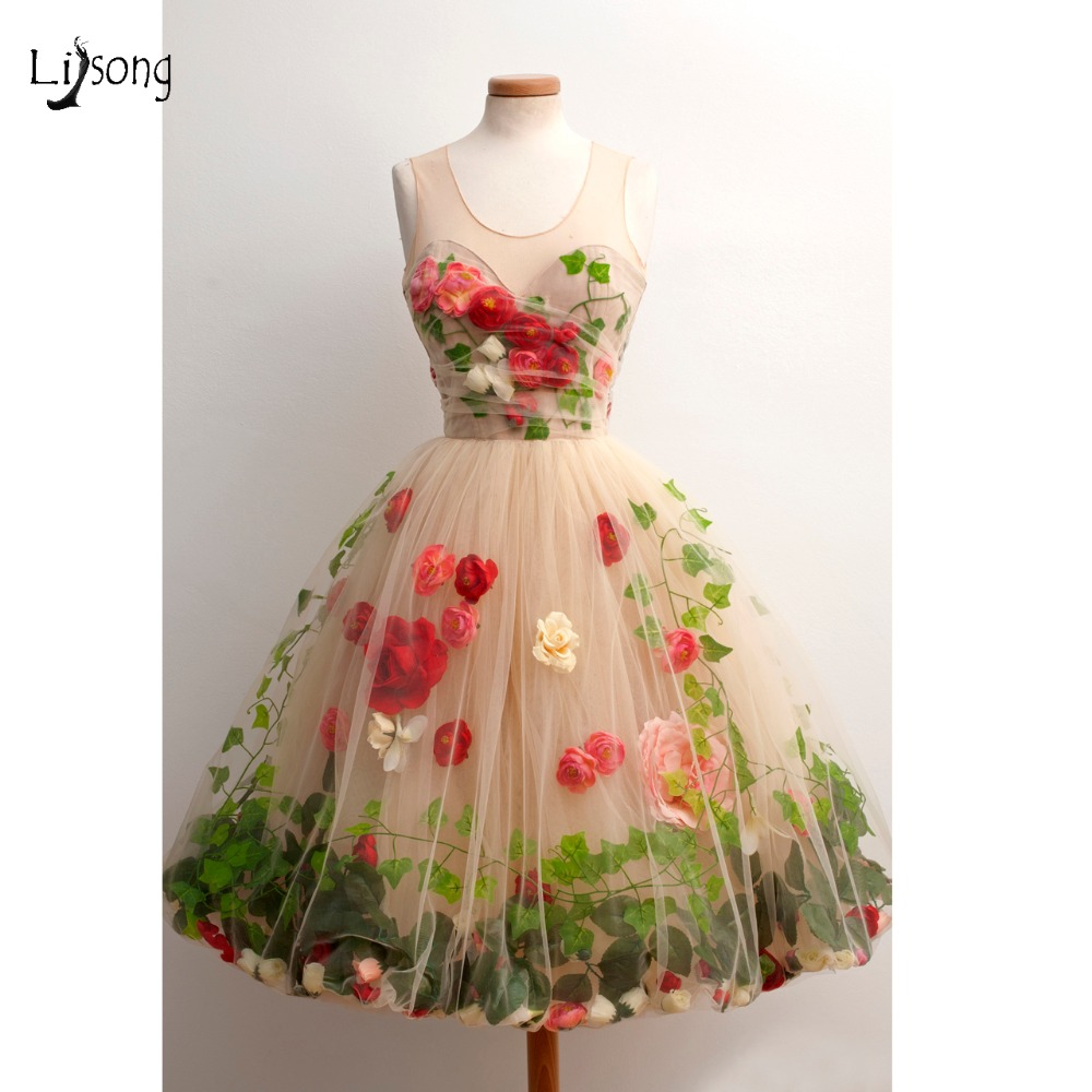 Pretty 3D Rose Flower With Leaf Tulle Formal Party Dresses Champagne Knee Length Cocktail Dress Prom Gowns Vestido De Formatura(China)