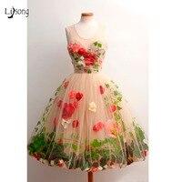 Довольно 3D цветок розы с листа Тюль Формальные Платья для вечеринок шампанское по колено коктейльное платье для выпускного платья Vestido De