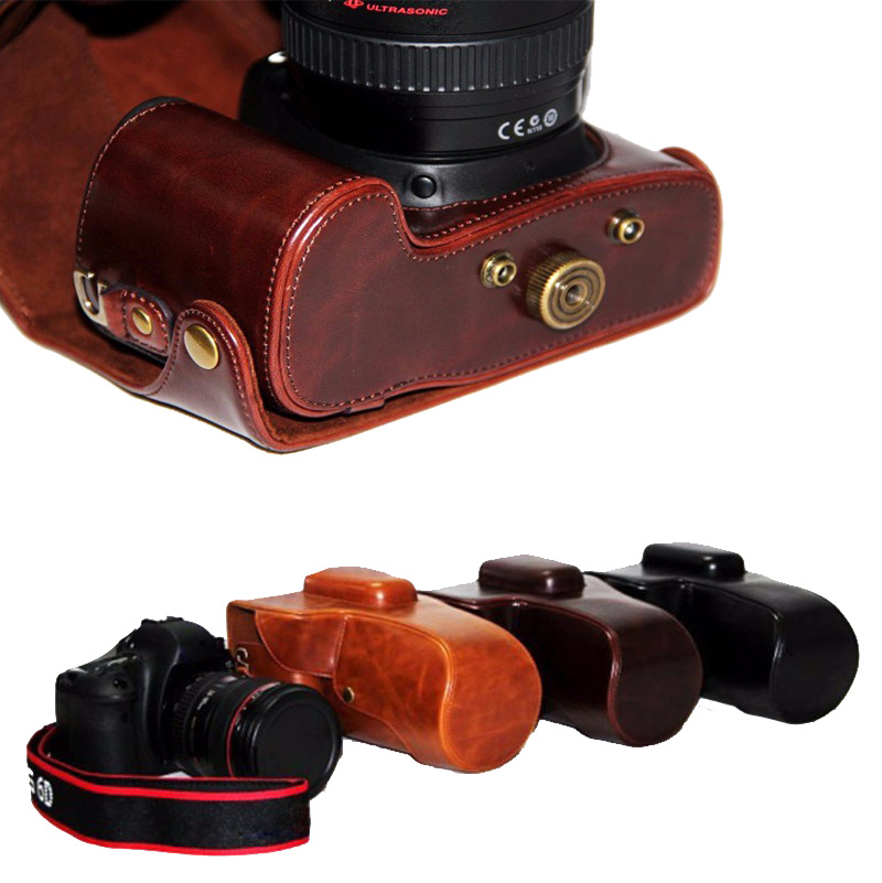 New Pu Leather Digital Camera Bag For Canon EOS 6D 7D Camera Case 3 color Coffee