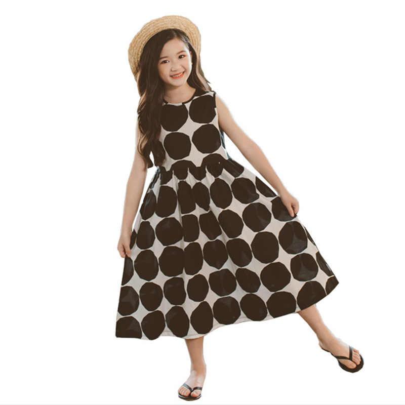2019 новые летние модные Хлопковые Платья без рукавов в горошек для девочек-подростков платье для маленьких девочек Vestidos Детские платья для девочек S201