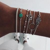 Baloki 6 шт./компл. богемный palm цветы из камней браслет наборы для Для женщин цепь браслет Браслеты нескольких слоев Femme Jewelry подарки