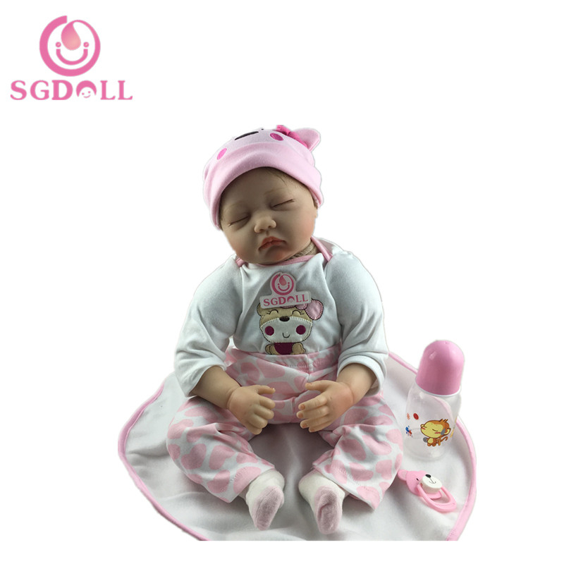 [SGDOLL] 55cm/22'' Handmade Lifelike Sleeping Baby Girl Reborn Doll Newborn Vinyl Dolls with Bottle Pacifier Clothes 16021905 high quality new arrival vintage antique brass sink faucet for kitchen