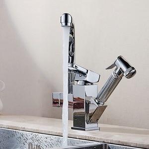 Image 4 - ポリッシュクロームデュアルプルアウトキッチン水栓デッキシャワー噴霧器キッチンタップ温水と冷水パイプ