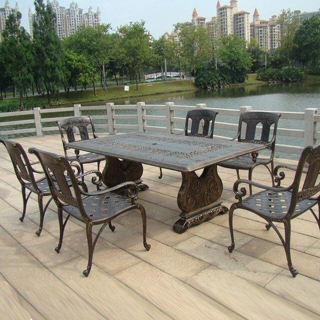 7 piece best vente en fonte d aluminium table et chaise mobilier d