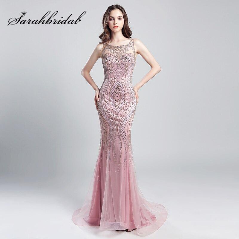 Vintage Blush Luxury Beading Mermaid Evening Dresses 2018 Long Illusion Tulle Rhinestone Women Maxi Prom Party