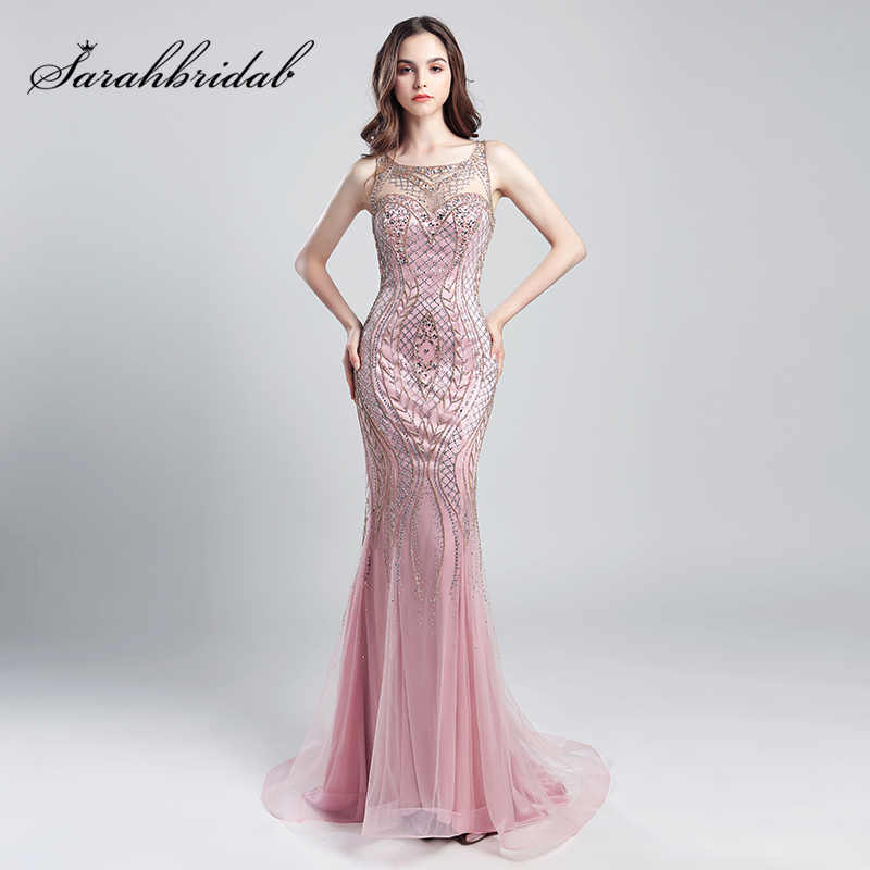 ec2215a3e4 Vintage Blush Luxury Beading Mermaid Evening Dresses 2018 Long Illusion  Tulle Rhinestone Women Maxi Prom Party Gowns OL029