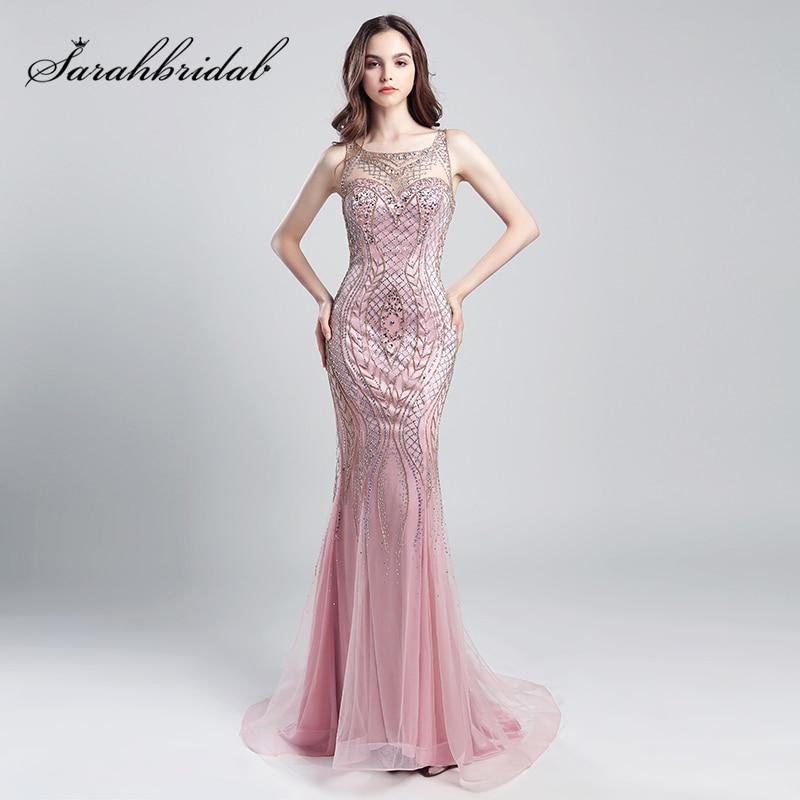 Vintage Blush Luxury Beading Mermaid   Evening     Dresses   2018 Long Illusion Tulle Rhinestone Women Maxi Prom Party Gowns OL029
