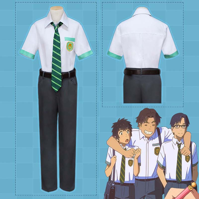 Japanese Movie Anime Kimi no Na wa Your Name Tachibana Taki Cosplay Costume Miyamizu Mitsuha Cosplay School Uniform Costumes