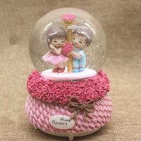 Large automatic snow spray lamp crystal ball music box lovers rose Valentine's Day to send girls and children LM01101042