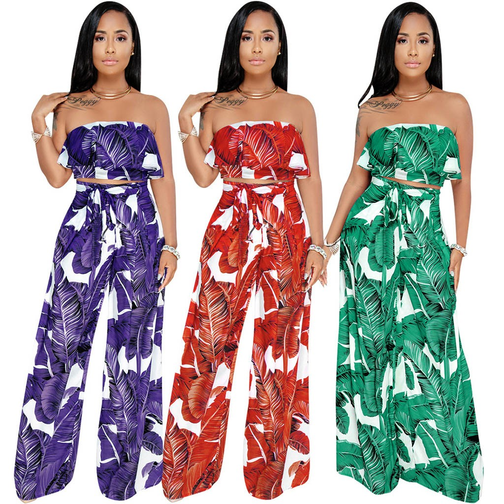2020 Summer Off Shoulder Bodysuit Leaf Printed Jumpsuit Women summer Casual Frill Ruffle Loose Rompers Playsuit Wide Leg Pants