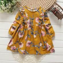 Осенние платья для маленьких детей для Обувь для девочек из хлопка с длинными рукавами детское платье оборками цветочный платье для девочек Одежда для умных девочек