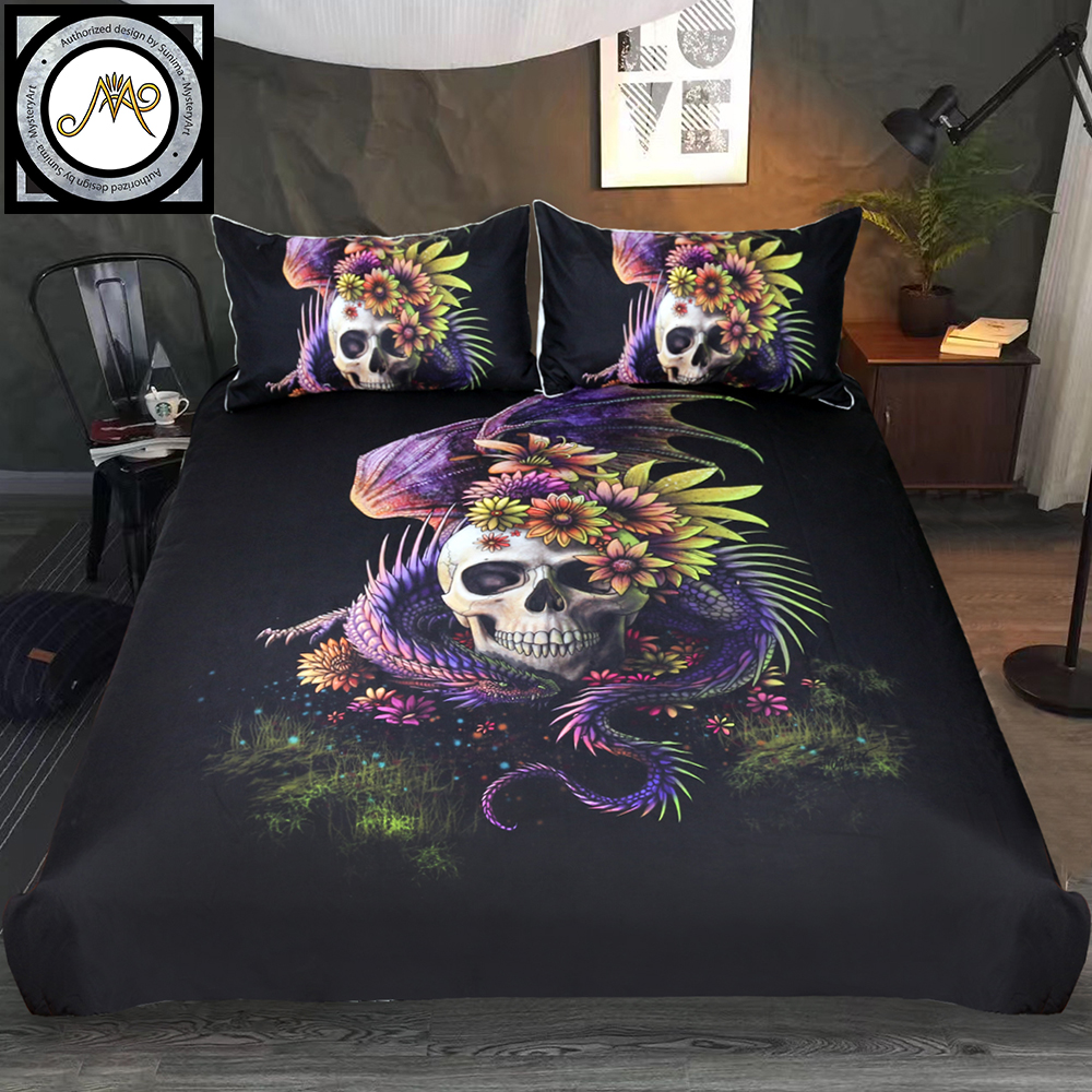 Flowery Skull By Sunima Bedding Set Purple Gothic Duvet Cover Dangerous Monster Fl Bed 3 Piece Mystery Art Bedclothes