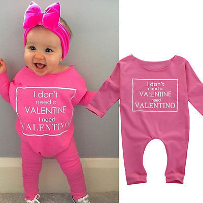 Cute Infant PINK   Romper   Baby Girl Letter Clothes Hot Toddler Print Outfits Kids Autumn Jumpsuit