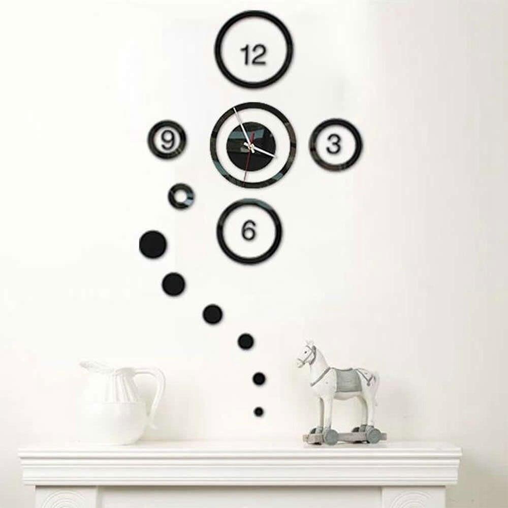 DIY 3D зеркальные настенные наклейки настенные часы художественная роспись домашний Декор Гостиная ТВ Фоновые наклейки настенные часы кварцевые иглы - Цвет: A Black