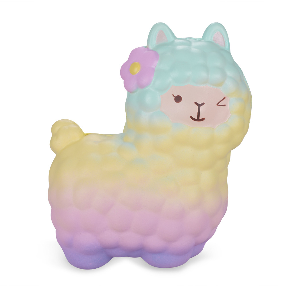 Vlampo Small Alpaca Slow Rising Super Soft Kawaii Squishy Toy Adorable Props Best Gifts for Children Non-toxic Slow Rebound vlampo squishy layer birthday cake slow rising o riginal packaging box gift collection decor toy for children kids